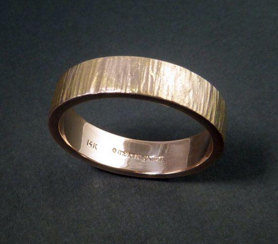 Rose Gold Wedding Band Ring - 14k Solid Free Inscription Mens His Unisex Tree Bark Wood Grain 10.5
