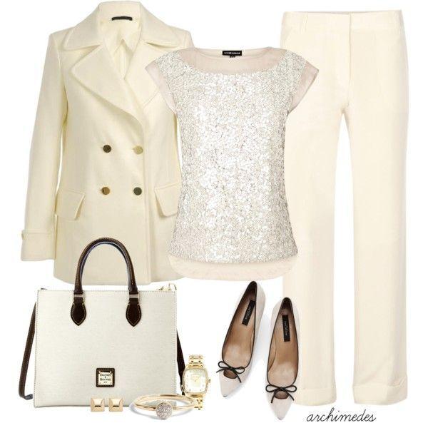 cream jacket cream blouse cream pant cream/black shoes & bag