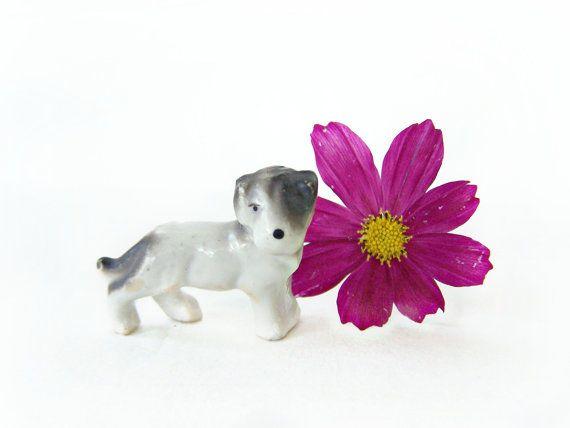 Vintage Dog Miniature Porcelain Figurine Sealyham Terrier Mix