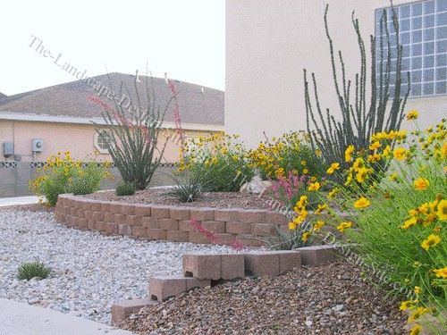 Desert Landscape Retaining Wall And Planting Beds · Front Yard LandscapingLandscaping  IdeasLandscaping ...