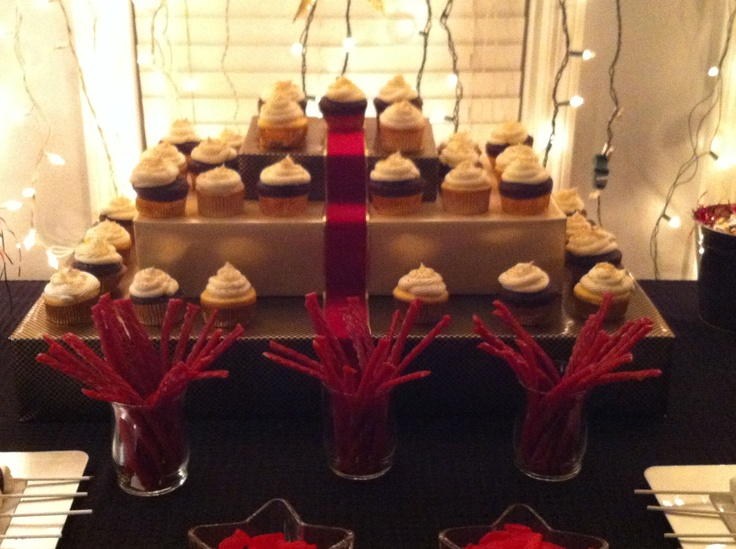 Nates Hollywood Theme Party Red Carpet Cupcake Tower Youth Pinterest Carpets