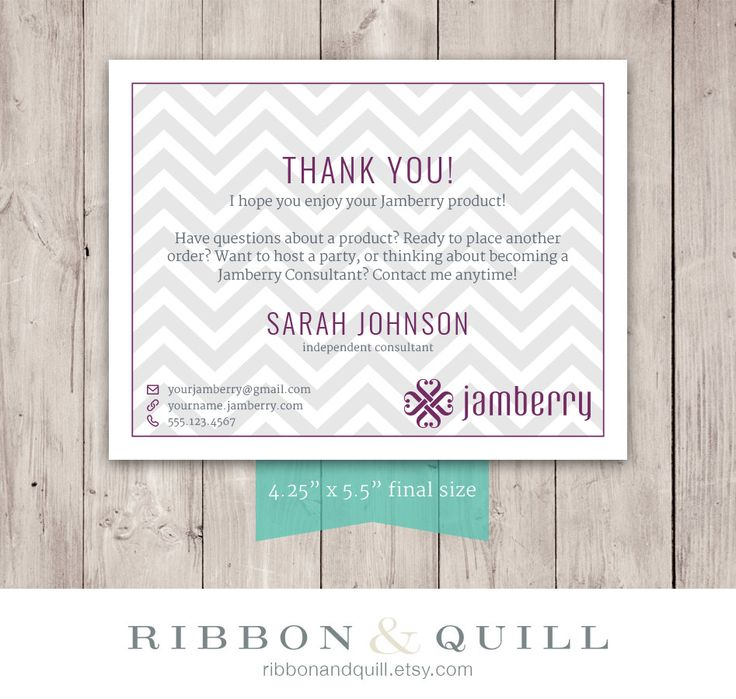 Jamberry Chevron Thank You Card - Custom PDF, Printable, Template ( Consultant, Vista Print, VistaPrint, BC ) by ribbonandquill on Etsy