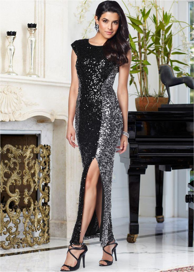 Kleid schwarz/silber - BODYFLIRT boutique jetzt im Online Shop von bonprix.de ab ? 59,99 bestellen. Für einen glanzvollen Auftritt! Rundum mit Pailletten ...