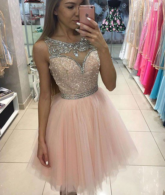Pink round neck sequin tulle short prom dress, cute homecoming dress
