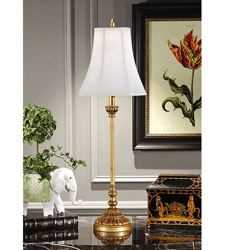Wildwood lamps simple gold buffet table lamp in hand applied antique gold 8894 lighting new