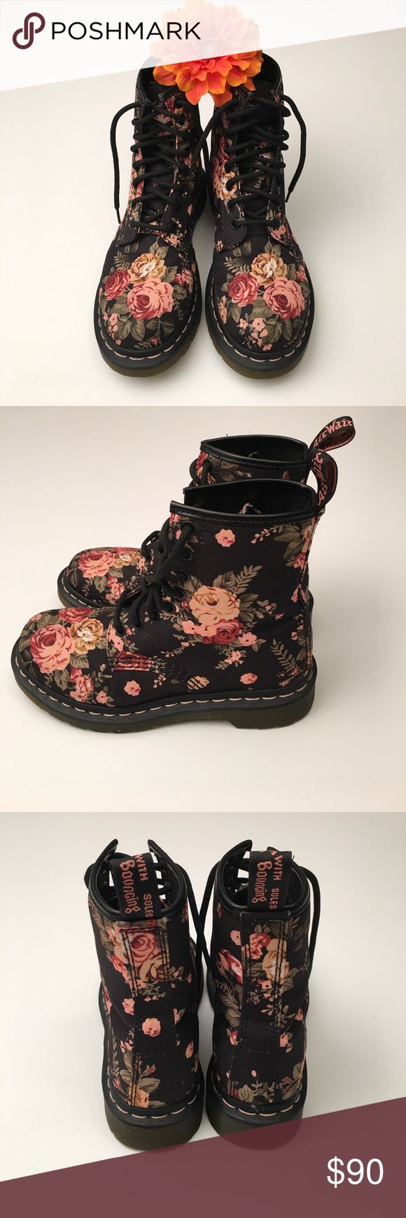 Floral Dr. Martens 1460 Black Victorian Flowers. These boots are super cute! A little bit grunge, a little bit girly! These are a Canvas material, Used but in like new condition! Dr. Martens Shoes Combat & Moto Boots