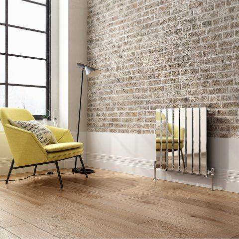 Hayes Horizontal Flat Panel Designer Gas Radiator in Chrome 600mm x 600mm - soak.com