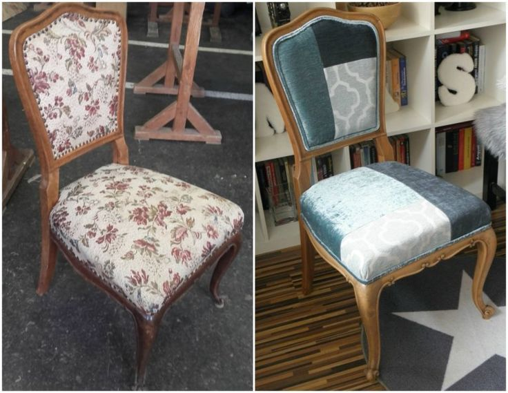 Reupholstered DIY patchwork chair