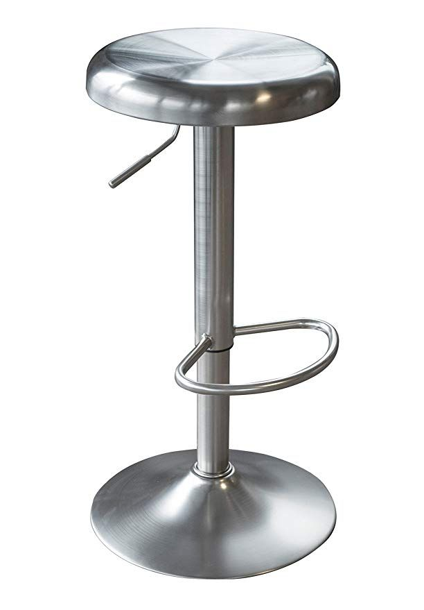 Offex Loft Stainless Steel Adjustable Height Swivel Bar Stool Silver Swivel Bar Stools Stainless Steel Bar Stools Steel Bar Stools