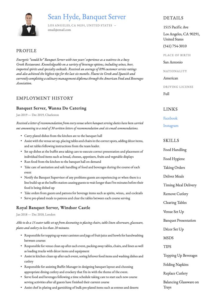 Banquet server resume example in 2020 server resume