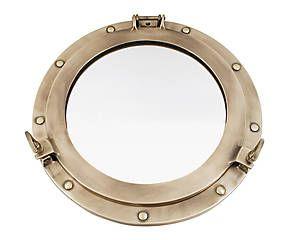 Miroir hublot GAM laiton, doré vieilli - Ø38