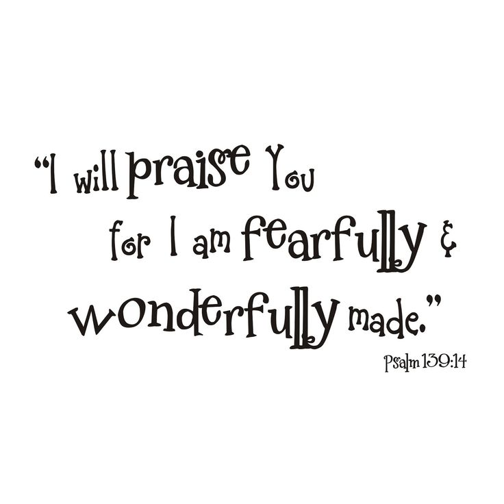 Fearfully and Wonderfully Made Psalm 139 14 Vinyl Wall Decal. $42.00, via Etsy.
