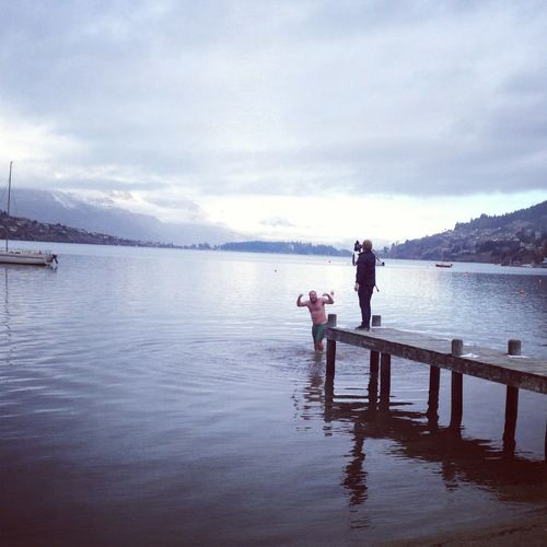 More fulfillment of Pledge Me rewards - our director Jordan Dodson jumps into Lake Wakatipu in the middle of winter!