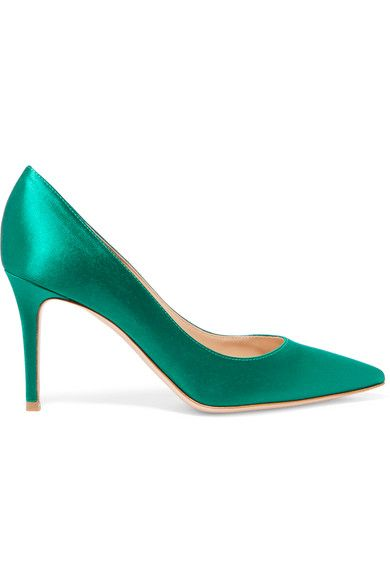 Gianvito Rossi's Italian-made pumps are crafted from sleek jewel-tone satin - it's one of the key fabrics for the coming season. This point-toe pair has cushioned insoles and is set on a moderate stiletto heel that's equally flattering and comfortable. The rich green hue complements everything from denim to printed dresses.