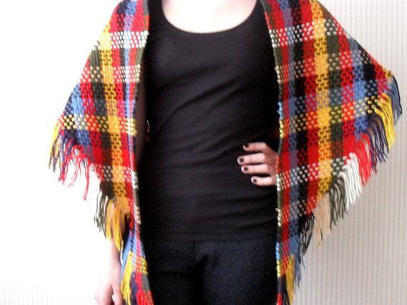Vintage sjaal/omslagdoek kleurige retro door BlageCrochetDesign