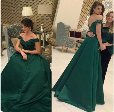 Off The Shoulder Prom Dress,Beading Prom Dress,Satin Prom Dress,Evening Dress