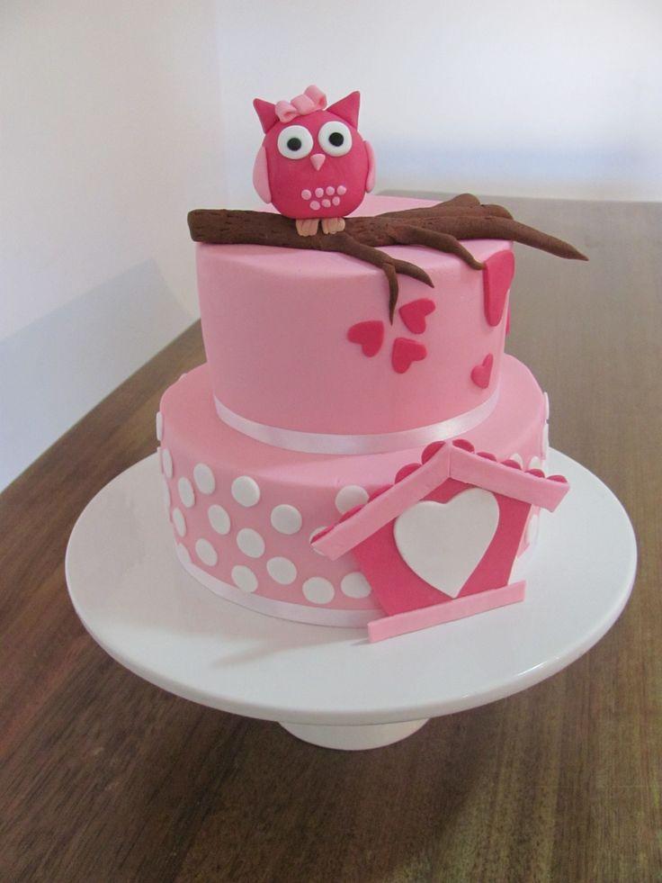 Owl 1st Birthday - Fondant decorated 2 tier chocolate mudcake