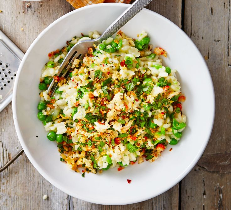 This cheap pea risotto doesn't skimp on flavour, with lemon zest and Italian-style hard cheese, such as pecorino or Parmesan
