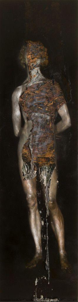 Nicola Samori, 2011, oil on copper, 230 x 60 cm