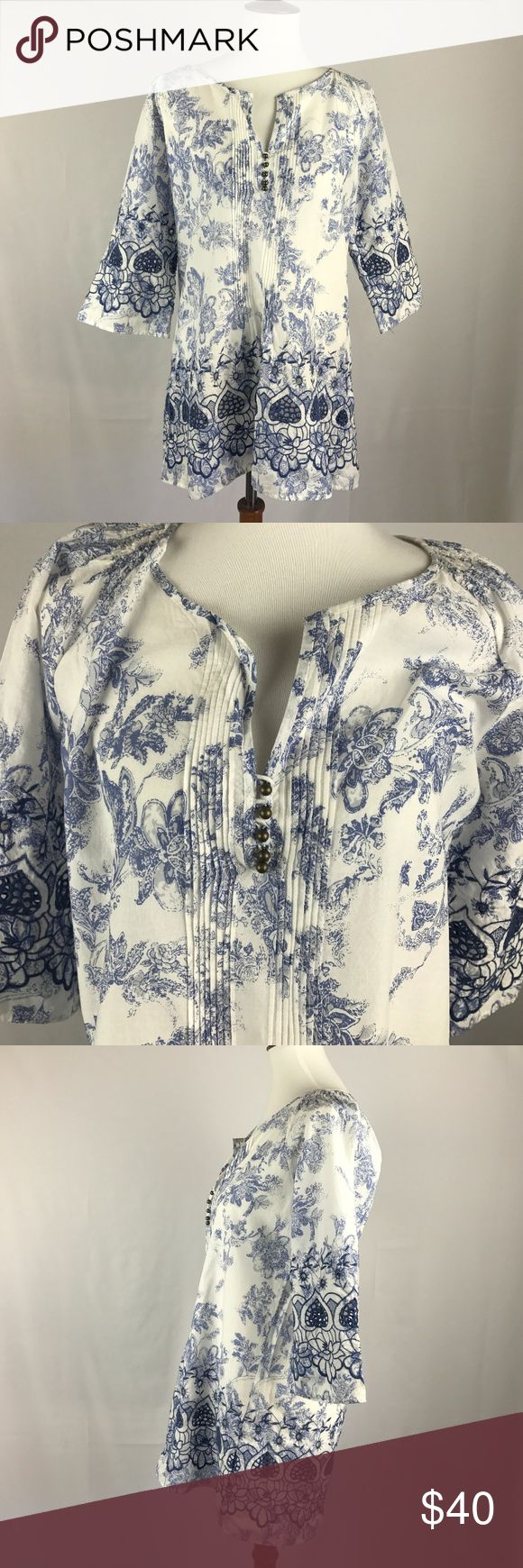 """NEW Soft Surroundings Eyelet Blue and White Blouse NWOT 21"""" armpit to armpit, 21"""" armpit to hem Soft Surroundings Tops Blouses"""