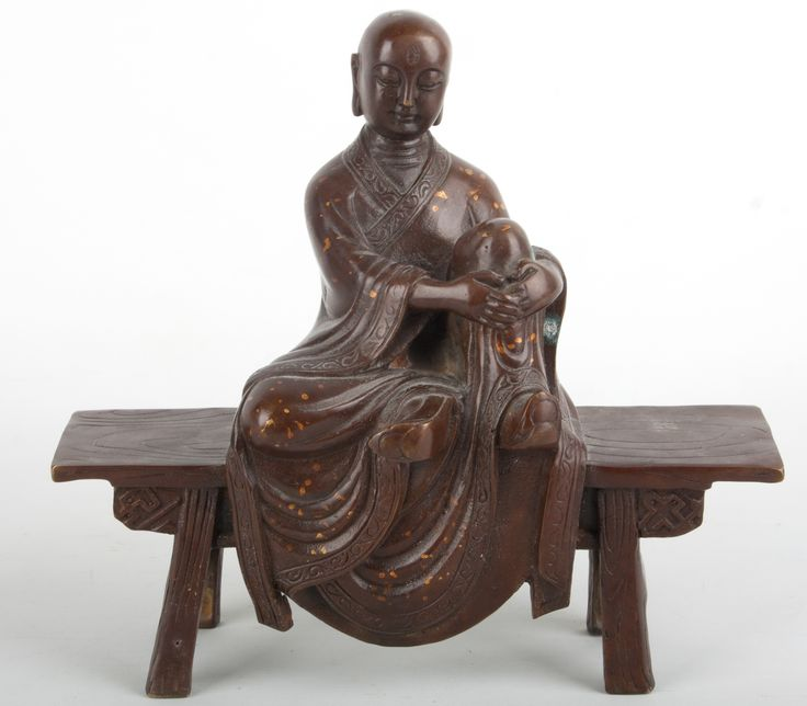 Description A Sino Tibetan bronze figure of a lohan or monk Seated on a form, the shaven headed figure wearing gold splashed robes, the left leg drawn up  Date Probably not old  www.collectorstrade.de