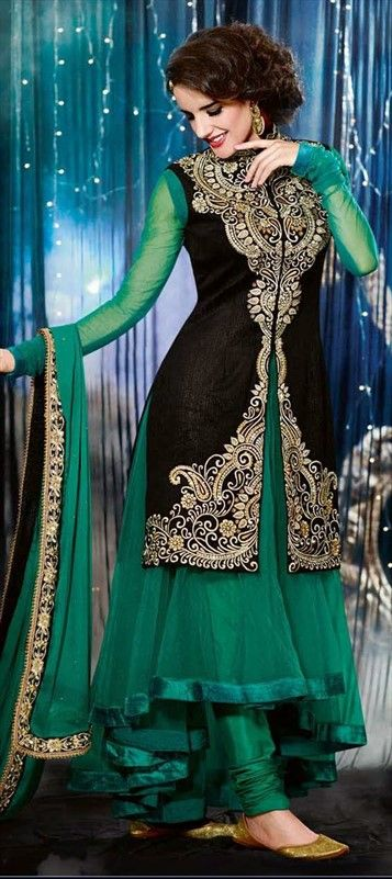 417708: Net, Velvet, Resham, Stone, Valvet, Patch.  #SalwarKameez for WINTERS! #sale #jacket #onlineshopping #anarkali #bridal #black #green #indianwedding #onlineshopping #designer #ethnic #festivewear #onlinegifts #weddingwear #bridalwear
