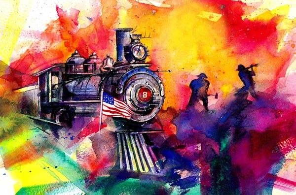 Nevada State Railroad Museum Mural by Kathy Morton-Stanion