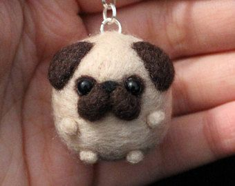 pug Cute Needle Felted Keychain Puppy Accessory gift dog handmade christmas animal mini #feltedpuppy #feltin #pug Cute Needle Felted Keychain Puppy Accessory gift dog handmade christmas animal mini #feltedpuppy #felting #feltanimals #cutedogs