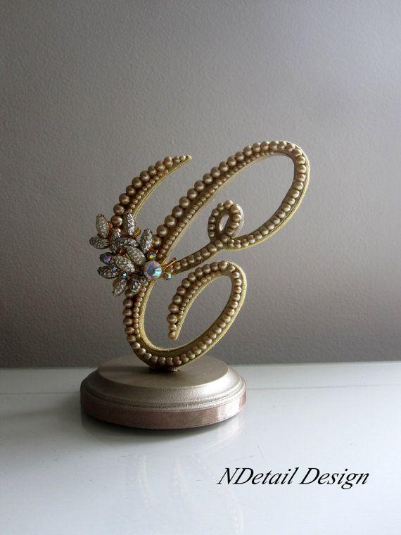 Wedding Cake Topper Monogram Letter C In Gold By Ndetaildesign 110 99