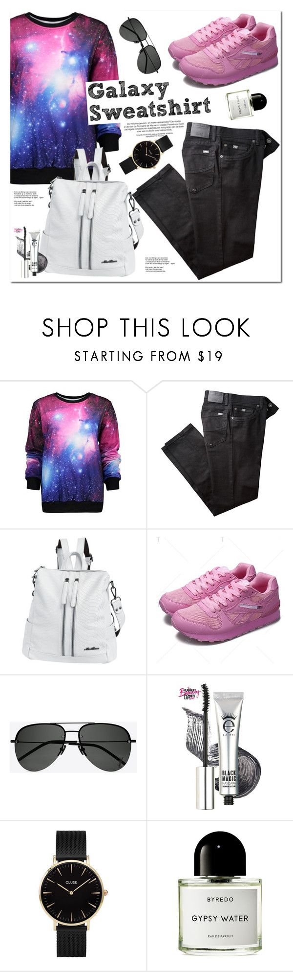 """Galaxy Sweatshirt"" by oshint ❤ liked on Polyvore featuring BRAX, Yves Saint Laurent, CLUSE, Byredo, awesome, amazing, cool, fabulous and twinkledeals"