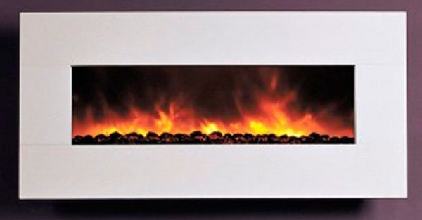 Dynasty BG-100-WLF wall-mount electric fireplace with white limestone surround; $2199 cdn.