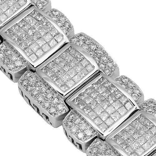 14K White Gold Mens Diamond Bracelet 27.98 Ctw | Your #1 Source for Jewelry and Accessories