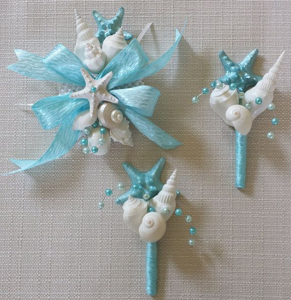 Beach Wedding Wrist Corsage. This beautiful handmade shell and starfish corsage would make the perfect addition to your beach wedding. A