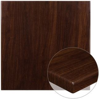 """36"""" Square High-Gloss Resin Table Top with 2"""" Thick Drop-Lip – Walnut (Walnut), Brown, Lancaster Home"""