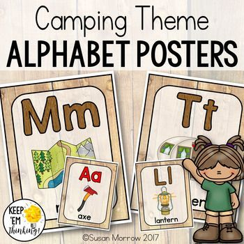 Camping Theme Alphabet Posters Primary Font - Camping Theme Classroom Decor -  Use this 90 page set to decorate your camping or forest theme classroom. You get full page and half page poster options. Many of the letters have more than one graphic to choose from. The vowels are available in both a red and black cursive font. Be sure to check out the preview to see all your choices! Great for your preschool, Kindergarten, 1st, 2nd, or 3rd grade classroom or home school.
