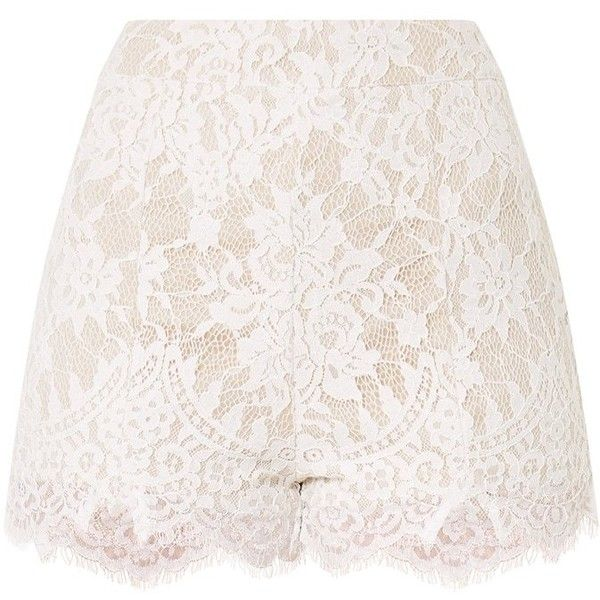 Ellena White Lace Shorts (98 BRL) ❤ liked on Polyvore featuring shorts, bottoms, skirts, lacy shorts, white lace shorts, lace shorts and white shorts