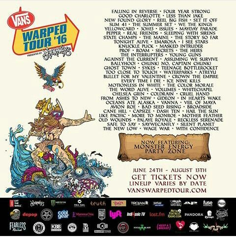 WARPED TOUR 2016 LINEUP. What a great season for the hard bands. So excited to see my guys from TWA and CTE. so excited to throw it back to Bullet For My Valentine and Atreyu.