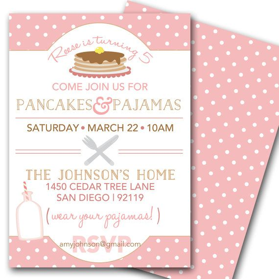 Pancakes and Pajamas Party Invitation - Pancake Birthday ...