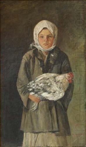 Girl holding a chicken, Ion Andreescu