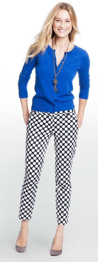 Polka dot skirt, cobalt blazer, gray shoes (via J. Crew Factory website)