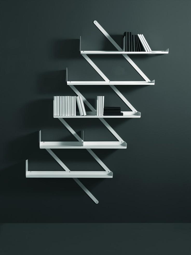 Wall-mounted steel #bookcase BOOXX + MINIBOOXX by Desalto | #design Denis Santachiara #books