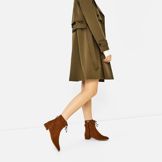 Image 1 of FLAT LEATHER LACE UP ANKLE BOOTS from Zara