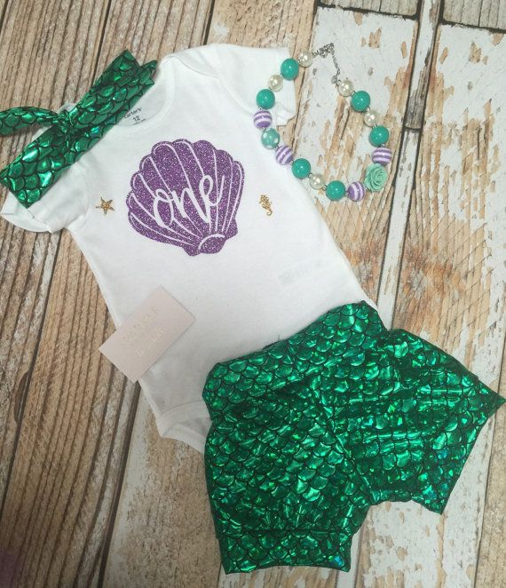 Little Mermaid Outfit / First Birthday Outfit Baby by BespokedCo