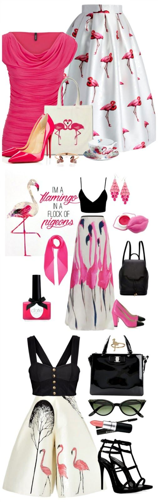 Hot pink flamingo fashion. Flamingo shoes, skirts, and more. -->Click through for sources
