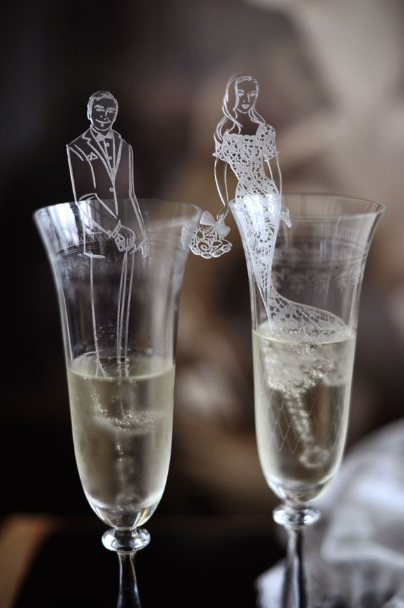 Bespoke swizzle sticks for your wedding designed by the amazing Astrid Mueller!