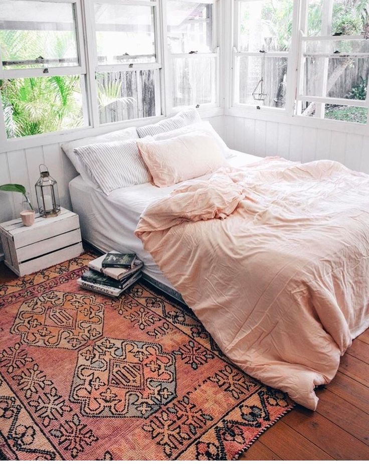 This is honestly my dream space. Simple, bright, feminine. Lots of windows :)