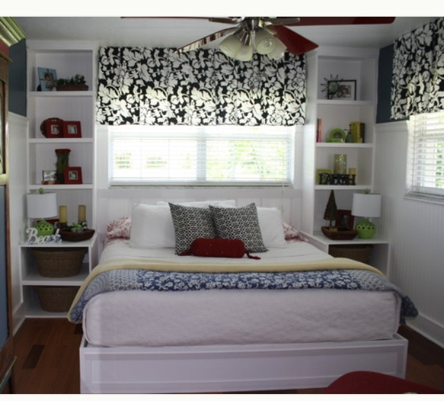 Loving These Shelves Nightstand Combo With A Small Bedroom And Bed