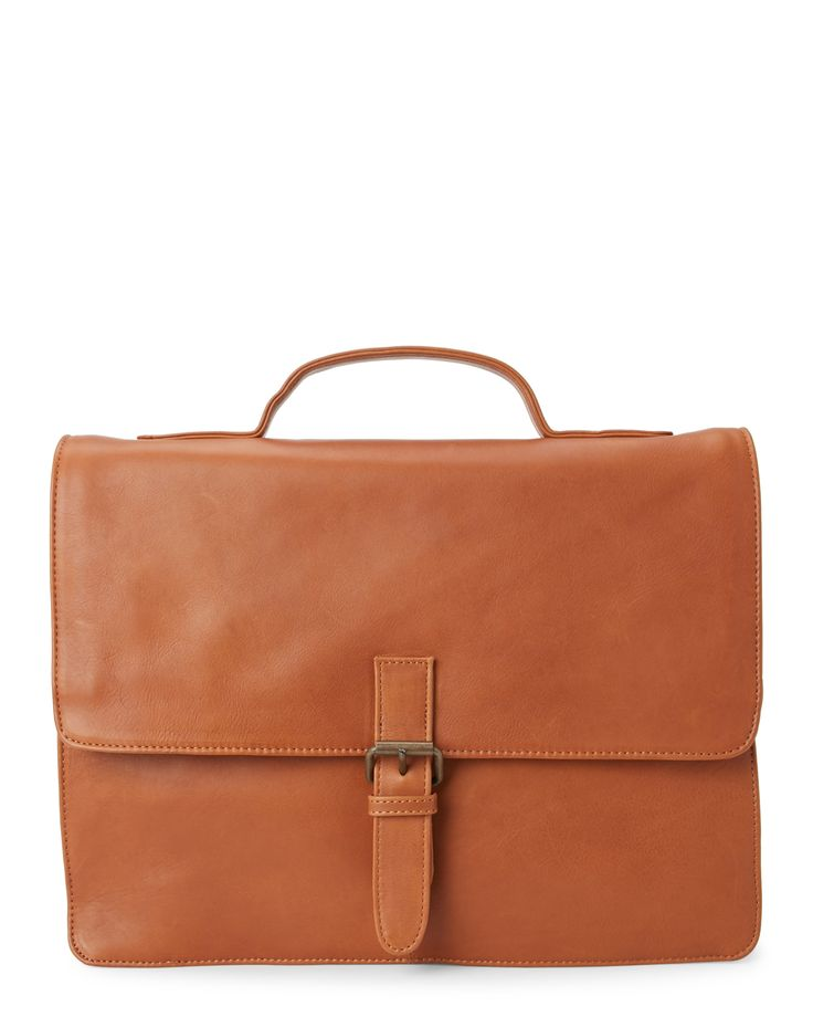 James Campbell Tan Slim Leather Briefcase