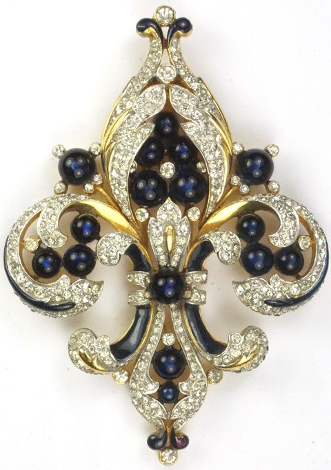 Trifari 'Alfred Philippe' Empress Eugenie Gold Black Enamel and Sapphires Fleur de Lys Pin Clip