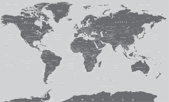 Large Wall Covering No Glue needed Simple Peel and Stick #6133 Grey World Map Wall Mural